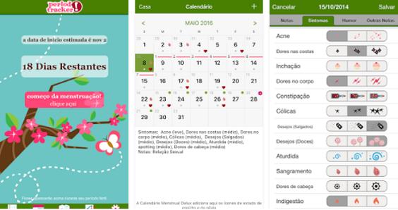 calendário menstrual apps de saúde