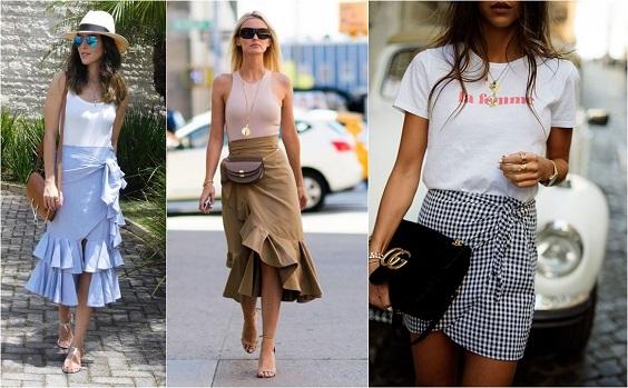 moda verão 2018 saia amarração