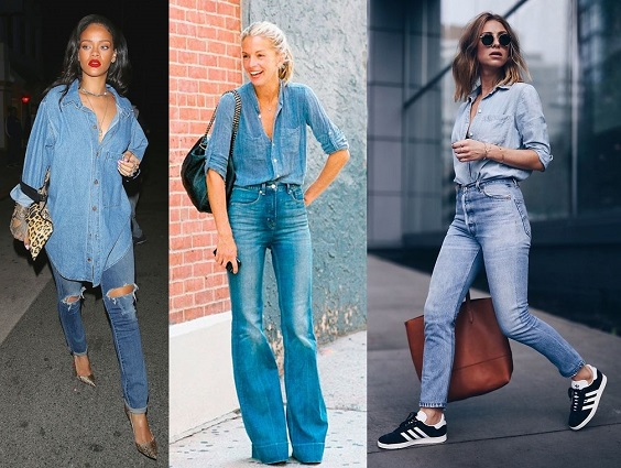 looks com jeans double denim