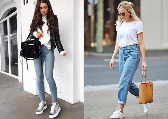 looks com jeans tênis