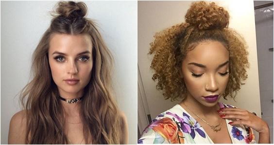 penteados de verão 2018 half bun