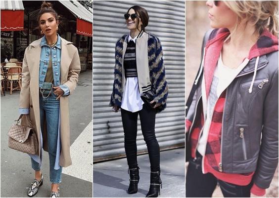 looks com sobreposições casaco e jaqueta