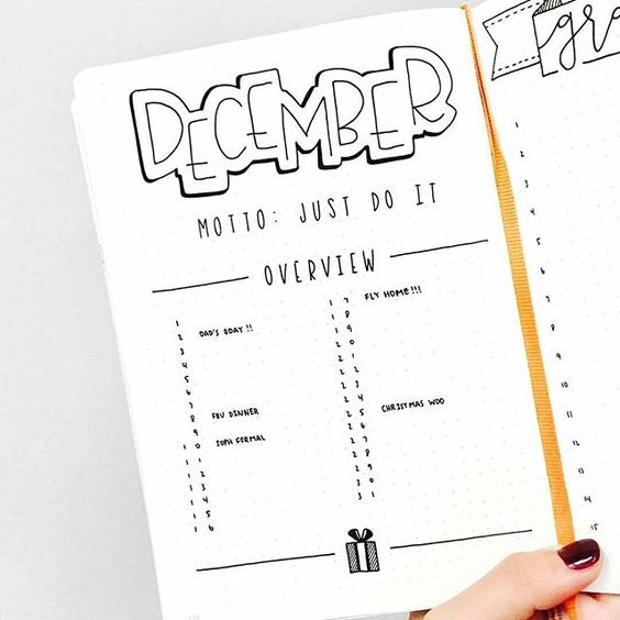 bullet journal calendar month