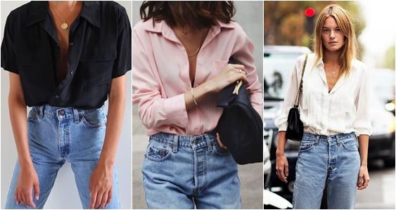 mom jeans e camisa
