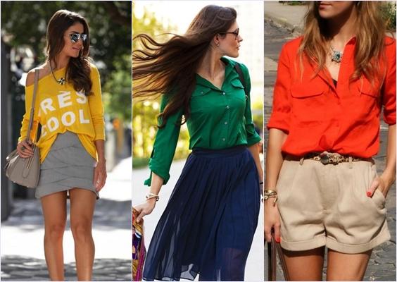 combinar roupas coloridas