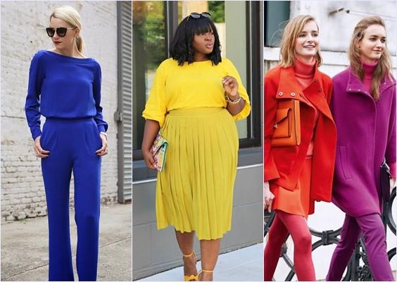 como combinar roupas coloridas look monocromático